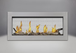 Surround in Stainless Steel, shown with Clear Glass Beads and Beach Fire Kit, MIRRO-FLAME<sup>™</sup> Porcelain Reflective Radiant Panels