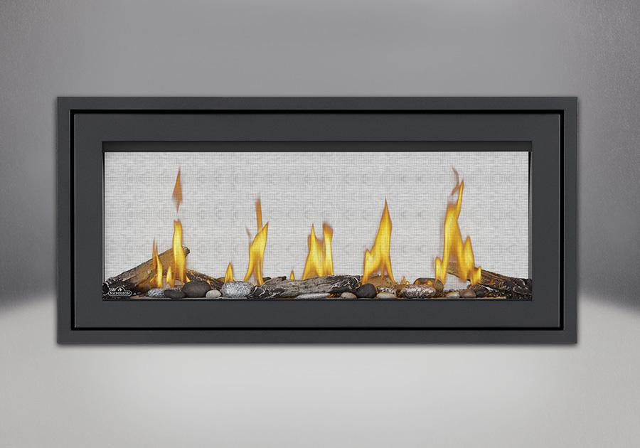 Finishing Trim (shown on Flush Frame) in Powder Coat Black, Beach Fire Kit, Shore Fire Kits, MIRRO-FLAME<sup>™</sup> Porcelain Reflective Radiant Panels