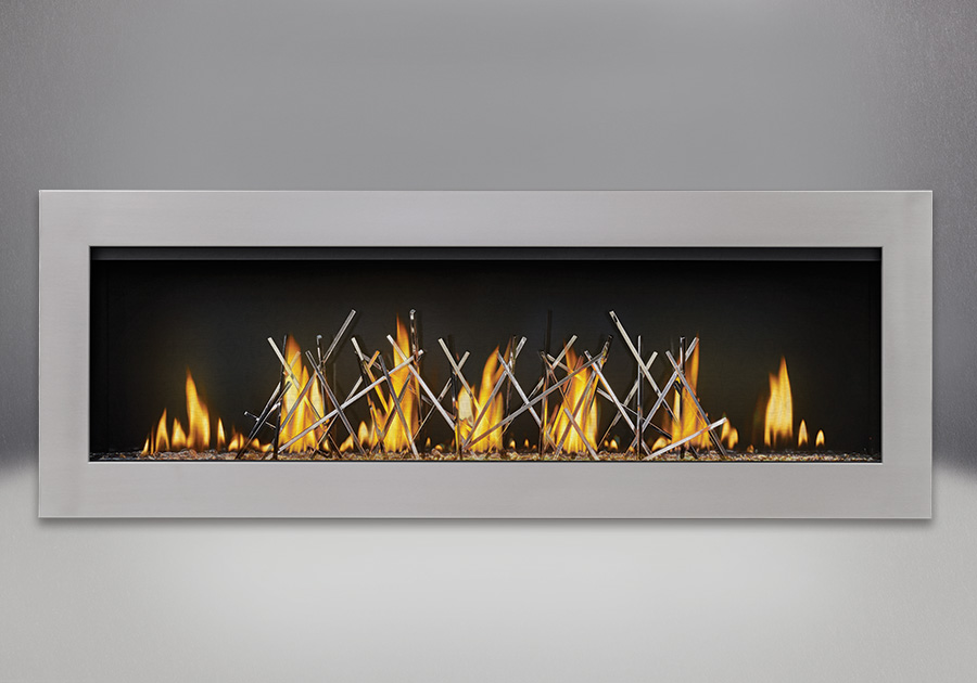 Flush Frame in Stainless Steel, shown with Clear Glass Beads and Nickel Stix, MIRRO-FLAME<sup>™</sup> Porcelain Reflective Radiant Panels