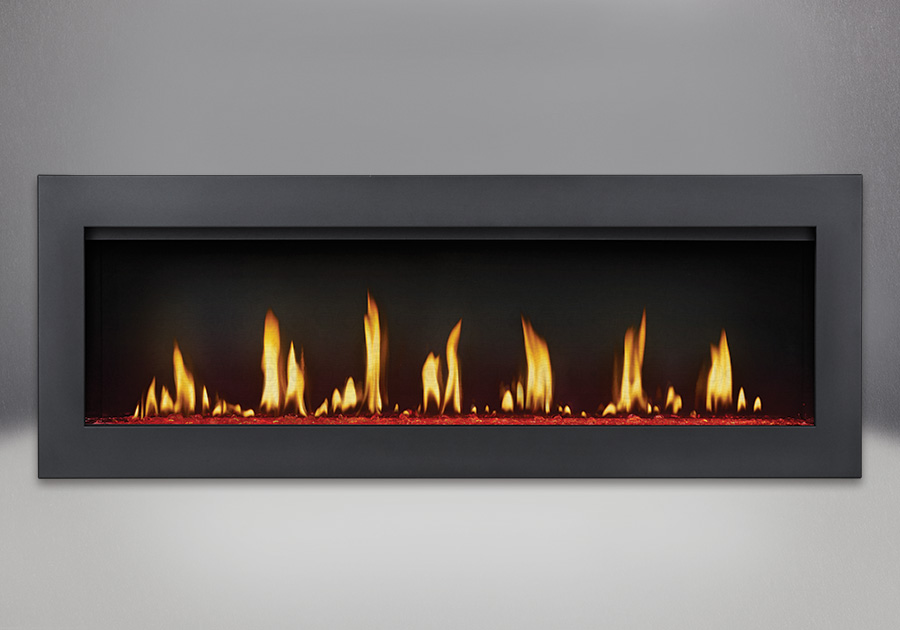 Flush Frame in Powder Coat Black, shown with Clear Glass Beads on LED Red Setting, MIRRO-FLAME<sup>™</sup> Porcelain Reflective Radiant Panels