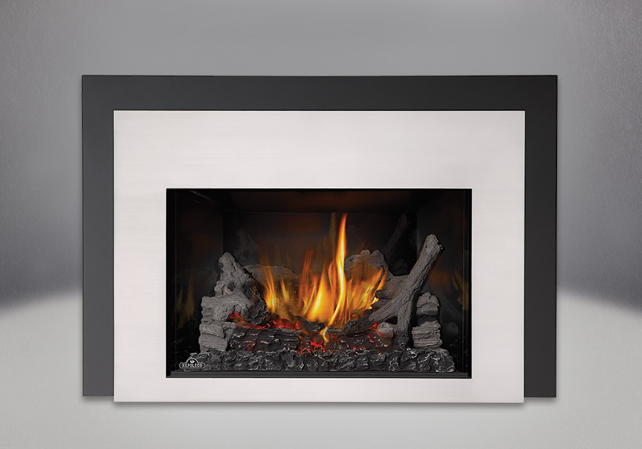 IRONWOOD<sup>™</sup> Log Set, MIRRO-FLAME<sup>™</sup> Porcelain Reflective Radiant Panels, Contemporary Front in Satin Chrome, One Piece Surround Painted Black Finish 6″