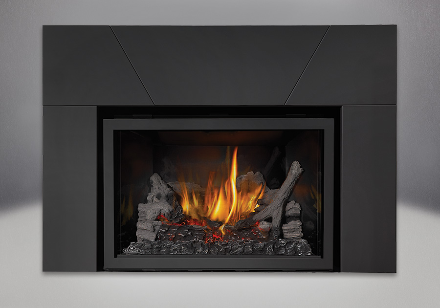 IRONWOOD<sup>™</sup> Log Set, MIRRO-FLAME<sup>™</sup> Porcelain Reflective Radiant Panels, Five Piece Surround Painted Black Finish 9″