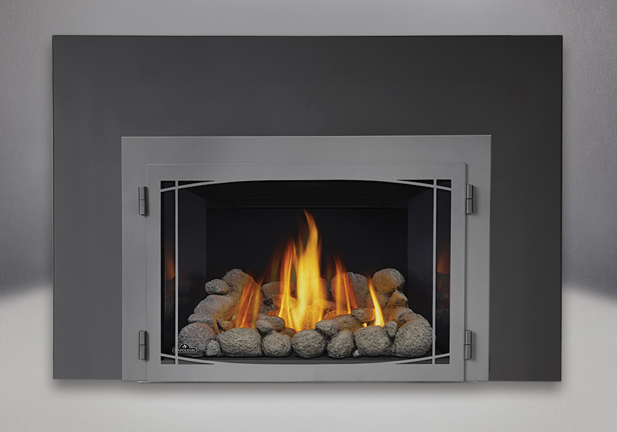 Grey River Rocks, MIRRO-FLAME<sup>™</sup> Porcelain Reflective Radiant Panels, Zen Modern Door in Wrought Iron Finish, One Piece Surround Painted Black Finish 9″