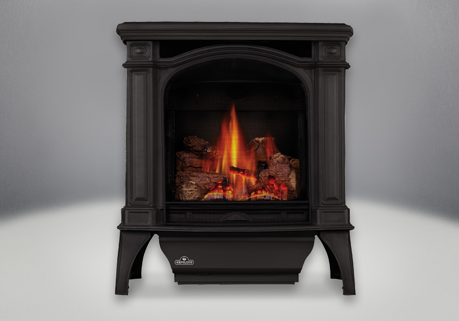 Painted Black Finish, MIRRO-FLAME<sup>™</sup> Porcelain Reflective Radiant Panels, PHAZER<sup>®</sup> Log Set, Standard Safety Screen