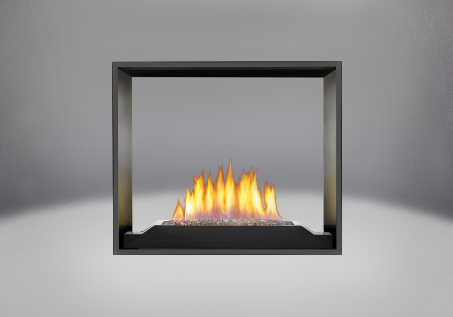 Topaz CRYSTALINE<sup>™</sup> Emberbed Burner, MIRRO-FLAME<sup>™</sup> Porcelain Reflective Radiant Panels, Painted Black Faceplate