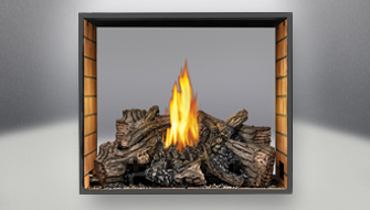 PHAZER Log Set Burner, Sandstone Brick Panels