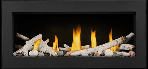 LV38 Media Option   Birch Logs, Shore Fire Kit, Classic Black Front