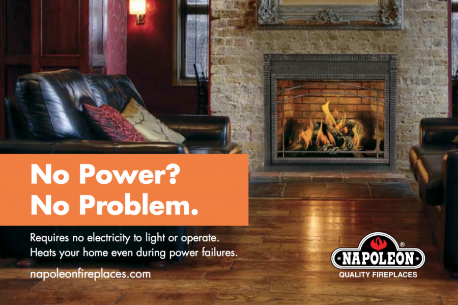 Another great thing about our napolein fireplace millivolt system is that since it doesn't need electricity these fireplaces are great for power outages and rual locations such as cottages or cabins.